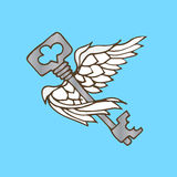Illustration of the key with wings. Flying key with angel wings. Stock Photography