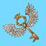 Illustration of the key with wings. Golden key with flying angel a wings and crown. Vintage. Stock Image