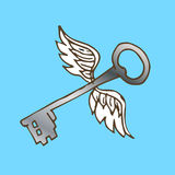 Illustration of the key with wings. Silver key with flying angel wings. Royalty Free Stock Photo