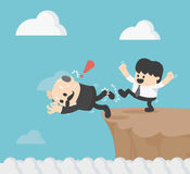 Illustration Kickass to the boss to fall cliff eps.10 Royalty Free Stock Photo