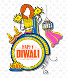 Kid celebrating happy Diwali Holiday doodle background for light festival of India. Illustration of kid celebrating happy Diwali Holiday doodle background for Royalty Free Stock Photo