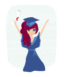 Illustration of a Kid Holding Her Diploma Royalty Free Stock Photo