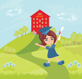 Illustration of a Kid Holding Her Diploma Royalty Free Stock Photography