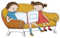 Kid reading book Stock Photo