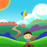 Illustration: A Kid is Running and Flying a Kite in the Colorful Field. Royalty Free Stock Photography