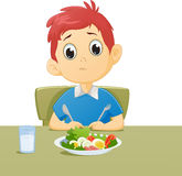 Illustration of kid sad with his breakfast Royalty Free Stock Photos