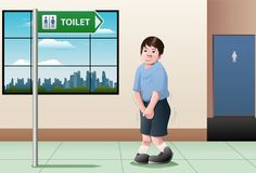 Kid want to pee. Illustration of a kid want to take a pee waiting in front of bathroom sign Royalty Free Stock Photo