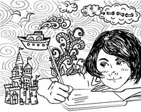 Illustration of kid writing and drawing. Funny cartoon Royalty Free Stock Photography