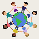 Illustration of kids around the Earth Royalty Free Stock Photo
