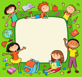 Illustration of kids bunner around square banner behind poster vector Royalty Free Stock Photos