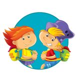 The illustration of the kids - button - icon form - in circle - ellipse - decor good for ad or wrapping stock illustration