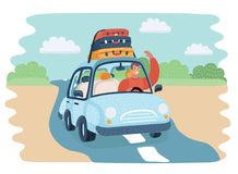 Illustration of a kids in car on road Stock Images