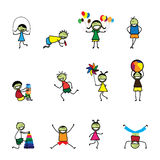 Illustration of kids(children) playing and having fun at school. The girls and boys are skipping, playing ball and balloons, running, jumping, alphabet blocks Royalty Free Stock Image
