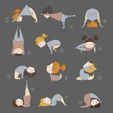 Illustration of kids doing yoga. Illustration of girls doing yoga. kids in yoga postures Royalty Free Stock Photos