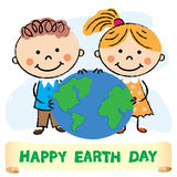 Illustration of Kids with Earth day. Earth day illustration with children over white background. vector Royalty Free Stock Images