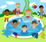 Illustration of Kids Having a Pool Party. Royalty Free Stock Photos