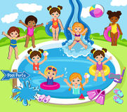 Illustration of Kids Having a Pool Party. Stock Images