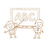 Illustration of Kids Holding Giant Letters Stock Images