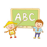 Illustration of Kids Holding Giant Letters Royalty Free Stock Photo