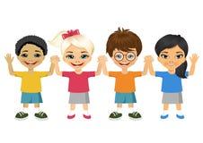 Illustration of kids holding hands. Vector illustration of kids holding hands on white background stock illustration