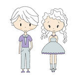 Illustration of kids icons, groups, vector. Boy and Girl Dolls Royalty Free Stock Images