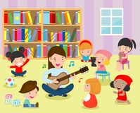 Illustration of Kids Listening to Their Teacher Play the Guitar in the classroom. Flat design. Illustration of Kids Listening to Their Teacher Play the Guitar stock illustration