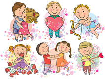 Illustration of kids with love Stock Photography