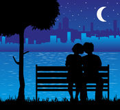 Illustration of kids in love under the moon Stock Photo