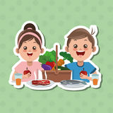 Illustration of kids menu, vector design, food and nutrition related Stock Images