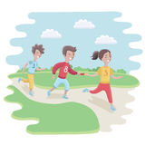 Illustration of Kids Participating in a Relay Race. Vector caroon illustration of kids Participating in a relay race in the park or stadium Stock Photography