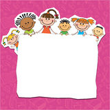 Illustration of kids peeping behind placard Royalty Free Stock Photography