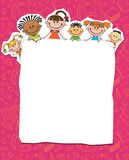 Illustration of kids peeping behind placard Stock Photography