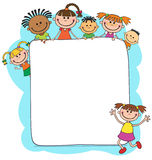Illustration of kids peeping behind placard Stock Photo