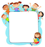 Illustration of kids peeping behind placard. Children together vector template kids sitting girl with a book banner Royalty Free Stock Photo