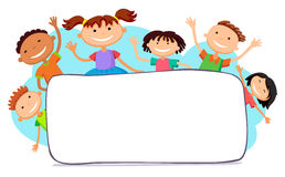 Illustration of kids peeping behind placard. Illustration of kids peeping behind horizontal banner vector Royalty Free Stock Photography
