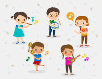 Illustration of kids playing different musical instruments. Vector cartoon illustration of kids playing different musical instruments Stock Photo