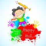 Kids playing Holi Stock Image