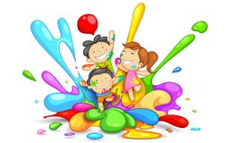 Kids playing Holi. Illustration of kids playing Holi with color and pichkari royalty free illustration