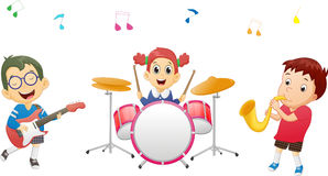 Illustration of kids playing music instrument Stock Photography
