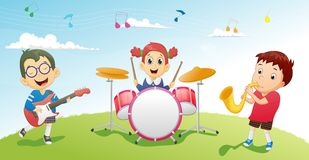 Illustration of kids playing music instrument Royalty Free Stock Images