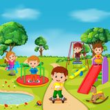 Kids playing outdoor in park. Illustration of kids playing outdoor in park Royalty Free Stock Photos