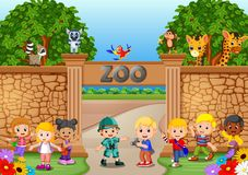 Kids playing at the zoo with zookeeper and animal. Illustration of Kids playing at the zoo with zookeeper and animal Royalty Free Stock Photos