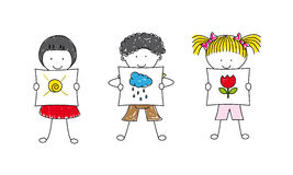 Illustration of Kids Posing with drawings Stock Photos