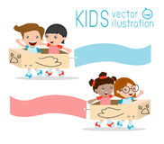 Illustration of Kids Riding cardboard airplane with Banners Royalty Free Stock Image