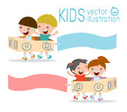 Illustration of Kids Riding cardboard airplane with Banners  Stock Photo