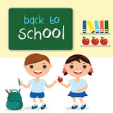 Illustration kids in school class,with school board. With text b Stock Image