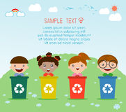 Illustration of Kids Segregating Trash, recycling trash, Save the World. Vector Illustration Royalty Free Stock Photos