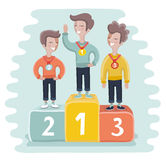 Illustration of kids standing on victory podium with medal. Vector cartoon illustration of kids standing on victory podium with medal. 3-top winners. Prize Stock Photography