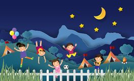 Illustration of kids summer camp education with happy children d. Oing activities on camping at night. Creative Idea paper art style. Vector Royalty Free Stock Photos