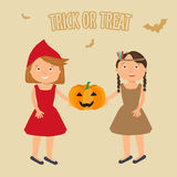 Illustration of Kids Trick or Treating stock illustration